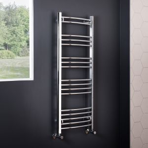 Essentials 1200 x 495mm Curved Chrome Heated Towel Rail