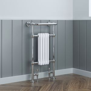 Salzburg Traditional Victorian 940 x 479mm Chrome & White Towel Rail Radiator
