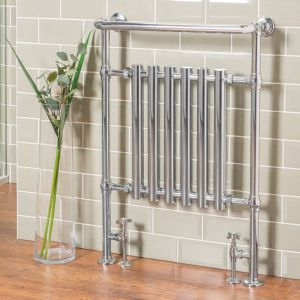 Geneva Traditional 952 x 659mm Chrome Heated Towel Rail Radiator