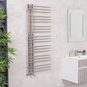 Kristiansund 1250 x 500mm Round Chrome Designer Heated Towel Rail