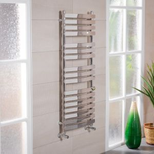 Boden 1200 x 500mm Curved Chrome Flat Panel Heated Towel Rail