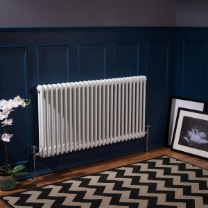 Bern 600 x 1190mm White Double Horizontal Column Radiator