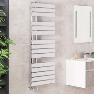 Kristiansund 1380 x 500mm Flat Chrome Designer Heated Towel Rail