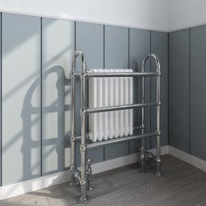 Salzburg Traditional Victorian 904 x 674mm Chrome & White Towel Rail Radiator