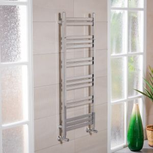 Boden 1200 x 500mm Straight Chrome Square Ladder Heated Towel Rail