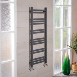 Boden 1200 x 500mm Straight Grey Square Ladder Heated Towel Rail