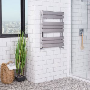 Juva 800 x 600mm Chrome Flat Panel Heated Towel Rail