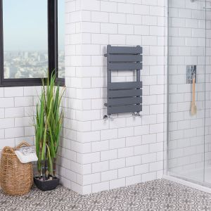 Juva 650 x 400mm Sand Grey Flat Panel Heated Towel Rail