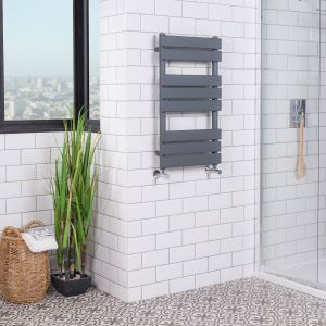 Juva 800 x 450mm Sand Grey Flat Panel Heated Towel Rail