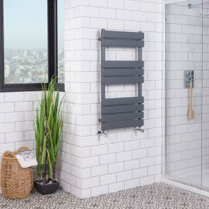 Juva 950 x 500mm Sand Grey Flat Panel Heated Towel Rail