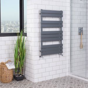 Juva 1000 x 600mm Sand Grey Flat Panel Heated Towel Rail