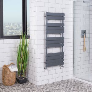 Juva 1200 x 500mm Sand Grey Flat Panel Heated Towel Rail