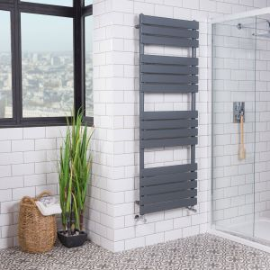 Juva 1600 x 600mm Sand Grey Flat Panel Heated Towel Rail
