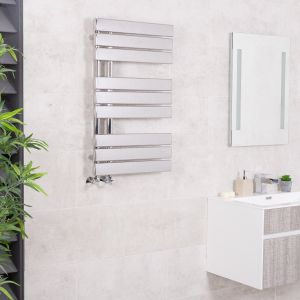 Kristiansund 824 x 500mm Flat Chrome Designer Heated Towel Rail
