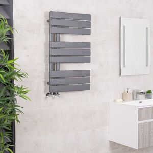 Kristiansund 824 x 500mm Flat Sand Grey Designer Heated Towel Rail