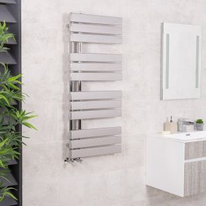 Kristiansund 1124 x 500mm Flat Chrome Designer Heated Towel Rail