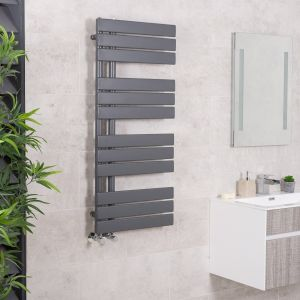 Kristiansund 1124 x 500mm Flat Sand Grey Designer Heated Towel Rail
