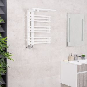 Kristiansund 650 x 500mm White Designer Heated Towel Rail with Shelf