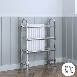 Salzburg Traditional Victorian 904 x 674mm Chrome & White Towel Rail Radiator with Valves