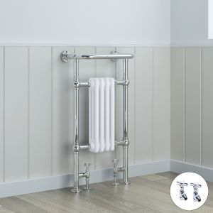 Salzburg Traditional Victorian 940 x 479mm Chrome & White Towel Rail Radiator with Valves