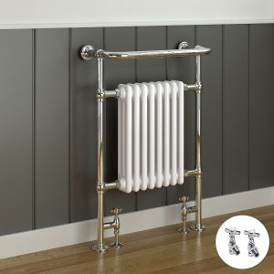 Salzburg Traditional Victorian 940 x 659mm Chrome & White Towel Rail Radiator with Valves