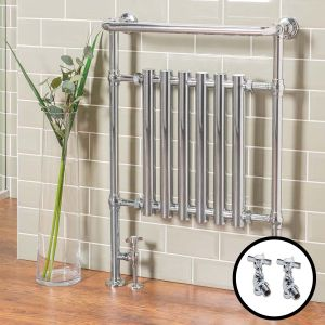 Geneva Traditional Towel Radiator 952 x 659 & Valves
