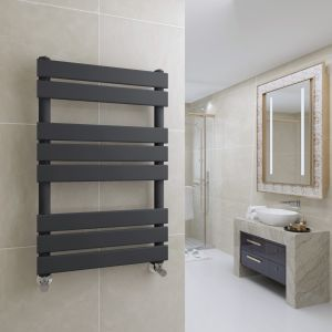Juva 800 x 500mm Sand Grey Flat Panel Heated Towel Rail