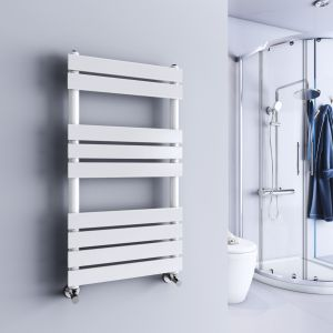Juva 950 x 500mm White Flat Panel Heated Towel Rail