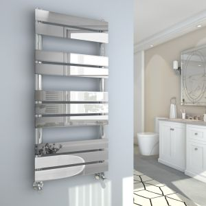 Juva 1000 x 450mm Chrome Flat Panel Heated Towel Rail