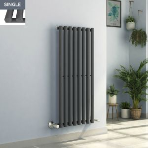 Voss 1200 x 545mm Anthracite Single Oval Tube Vertical Bathroom Toilet Home Radiator