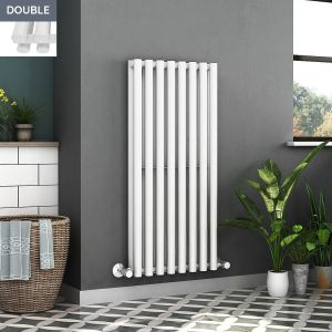 Voss 1200 x 545mm White Double Oval Tube Vertical Bathroom Toilet Home Radiator
