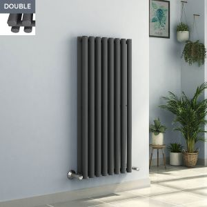 Voss 1200 x 545mm Anthracite Double Oval Tube Vertical Bathroom Toilet Home Radiator