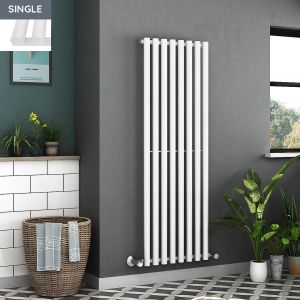 Voss 1600 x 545mm White Single Oval Tube Vertical Bathroom Toilet Home Radiator