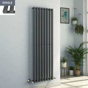 Voss 1600 x 545mm Anthracite Single Oval Tube Vertical Bathroom Toilet Home Radiator