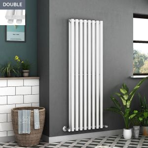 Voss 1600 x 545mm White Double Oval Tube Vertical Bathroom Toilet Home Radiator
