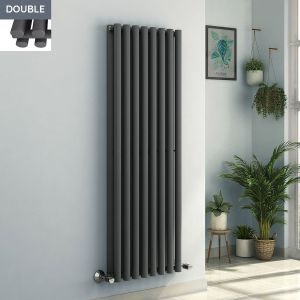 Voss 1600 x 545mm Anthracite Double Oval Tube Vertical Bathroom Toilet Home Radiator