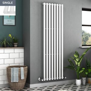 Voss 1800 x 545mm White Single Oval Tube Vertical Bathroom Toilet Home Radiator