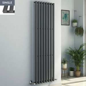 Voss 1800 x 545mm Anthracite Single Oval Tube Vertical Bathroom Toilet Home Radiator
