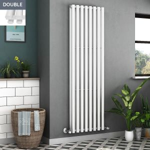 Voss 1800 x 545mm White Double Oval Tube Vertical Bathroom Toilet Home Radiator