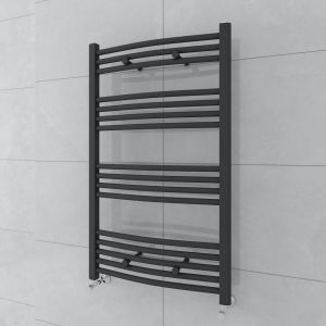 Fjord 1000x600mm Curved Grey Towel Radiator