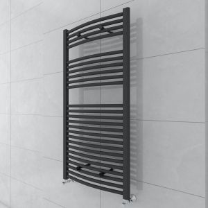 Fjord 1200 x 600mm Curved Grey Towel Radiator