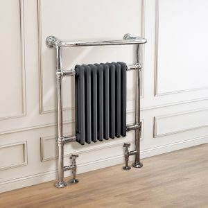 Salzburg Traditional Victorian 952 x 659mm Chrome & Grey Towel Rail Radiator