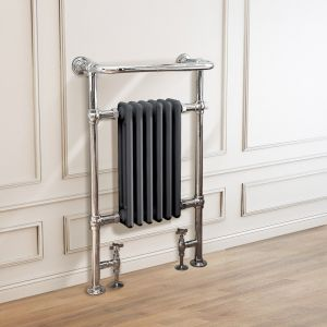 Salzburg Traditional Victorian 952 x 568mm Chrome & Grey Towel Rail Radiator