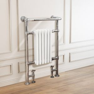 Salzburg Traditional Victorian 952 x 568mm Chrome & White Towel Rail Radiator