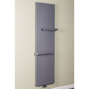 Copenhagen 1925 x 528mm Light Grey Flat Panel Vertical Radiator with Towel Rail