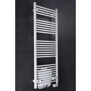 Bergen 1450 x 600mm Straight White Electric Towel Rail With 800W Blower