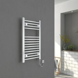 Bergen 700 x 400mm Straight White Electric Heated Towel Rail