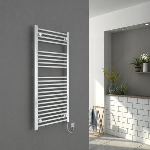 Bergen 1100 x 500mm Straight White Electric Heated Towel Rail