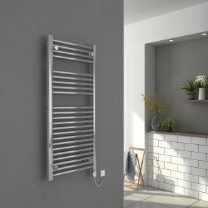 Bergen 1100 x 500mm Straight Chrome Electric Heated Thermostatic Towel Rail