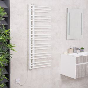 Kristiansund 1250 x 500mm White Electric Designer Heated Towel Rail
